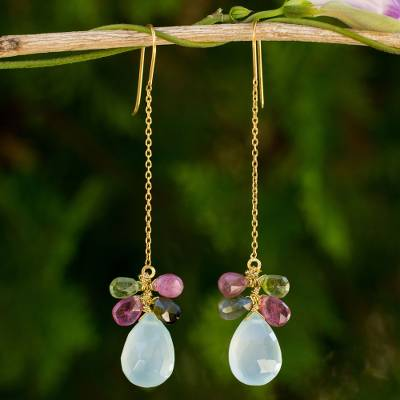 Gold plated chalcedony and tourmaline dangle earrings, 'Siam Glam' - Chalcedony and Tourmaline Gold Plated Earrings from Thailand