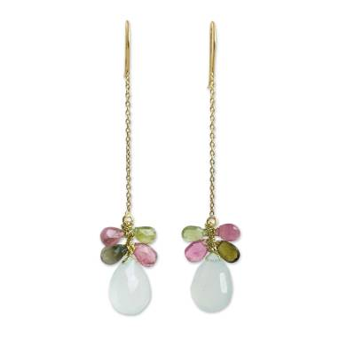 Chalcedony and Tourmaline Gold Plated Earrings from Thailand