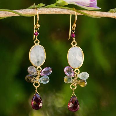 Gold plated moonstone and tourmaline dangle earrings, 'Rainbow Snow' - Moonstone Garnet and Tourmaline 24k Gold Plated Earrings