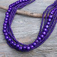 Wood beaded necklace, 'Orchid Dance' - Purple Wood Bead Necklace Hand Crafted in Thailand