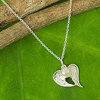 Cultured pearl heart necklace, 'Angelic Love'