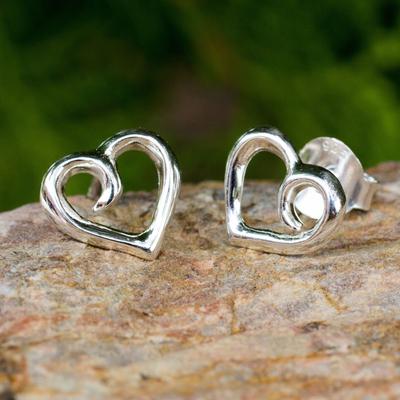 Sterling silver heart earrings, 'Love Promise' - Heart Button Earrings Sterling Silver Artisan Jewelry