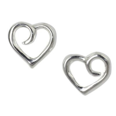 Heart Button Earrings Sterling Silver Artisan Jewelry