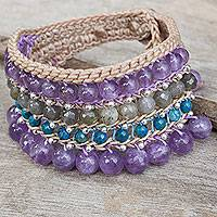 Amethyst and labradorite wristband bracelet, 'Sukhothai Chic' - Artisan Crafted Multi Gem Beaded Wristband Bracelet
