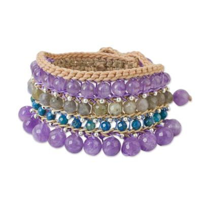 Artisan Crafted Multi Gem Beaded Wristband Bracelet