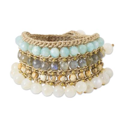 Multi-gemstone wristband bracelet, 'Sukhothai Chic' - Multi Gemstone Crocheted Wristband Bracelet from Thailand