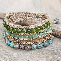 Beaded wristband bracelet, 'Sukhothai Chic' - Blue Green Beaded Gemstone Wristband Bracelet from Thailand