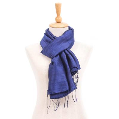 Silk and cotton scarf, 'Sapphire Night' - Hand Woven Blue Thai Silk and Cotton Scarf