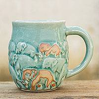 Celadon ceramic mug, 'Light Blue Elephant Herd' - Glazed Celadon Ceramic 10 oz Mug with Brown Accents
