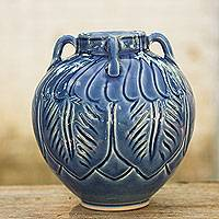 Celadon ceramic vase, 'Beautiful Blue Sawankhalok' - Blue Celadon Ceramic Vase with Leafy Patterns