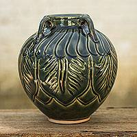 Celadon ceramic vase, 'Beautiful Green Sawankhalok' - Celadon Ceramic Dark Green Vase with Leafy Patterns