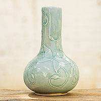 Celadon vase, 'Light Blue Butterflies' - Thai Garden Theme Glazed Celadon Vase Crafted by Hand