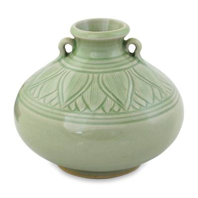 Celadon ceramic vase, 'Sawankhalok Jade Lotus' - Light Green Classic Glazed Vase Crafted in Celadon Ceramic