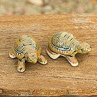 Ceramic figurines, 'Resilient Turtles' (pair) - Thai Ceramic Turtle Figurines in Brown-Green (Pair)