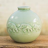 Celadon ceramic vase, 'Jade Elephant Parade' - Round Celadon Ceramic Elephant Vase with Glazed Finish