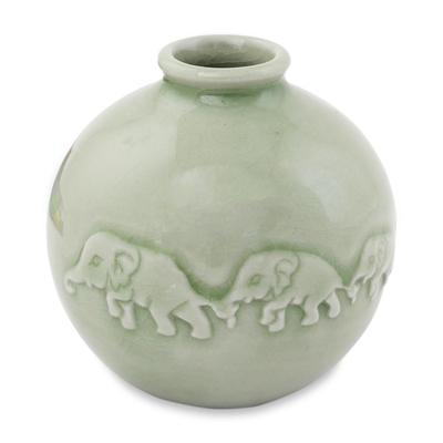 Unicef Market Round Celadon Ceramic Elephant Vase With Glazed