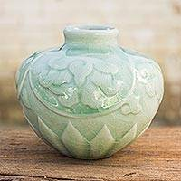 Celadon ceramic petite vase 'Voluptuous Lotus' - Thai Hand Crafted Petite Celadon Ceramic Vase