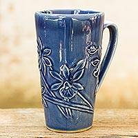 Celadon ceramic mug, 'Royal Blue Orchid' - Hand Crafted Dark Blue Celadon Ceramic Mug from Thailand