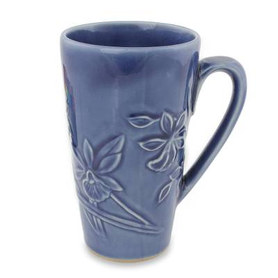 UNICEF Market   Hand Crafted Dark Blue Celadon Ceramic Mug from ...