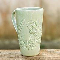 Celadon ceramic mug, 'Green Orchid' - Light Green Celadon Ceramic Artisan Crafted Orchid Mug