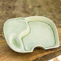 Celadon ceramic plate, 'Happy Green Elephant' - Whimsical Elephant Theme Handmade Celadon Plate