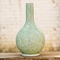 Celadon ceramic vase 'Siam Garden' - Green Thai Celadon Ceramic Hand Crafted Vase