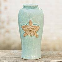 Celadon ceramic vase, 'Blue Orchid' - Hand Crafted Flower Theme Blue Celadon 7-Inch Ceramic Vase