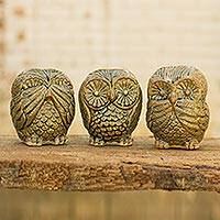 Celadon ceramic statuettes, 'Brown Owl Trio' (set of 3) - Fair Trade Brown Celadon Ceramic Owl Statuettes (Set of 3)