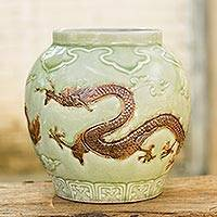 Celadon ceramic vase, 'Dragon Rising' - Dragon Theme Green Celadon Ceramic Vase