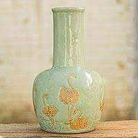 Celadon ceramic vase, 'Jade Flamingo' - Bird Theme Handcrafted Green Celadon Ceramic Vase