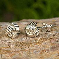 Sterling silver button earrings, 'Together'