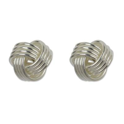 Hand Crafted Thai Sterling Silver Button Earrings
