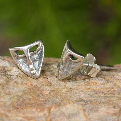 Sterling silver button earrings, 'Modern Mask' - Sterling Silver theatre Mask Button Earrings from Thailand