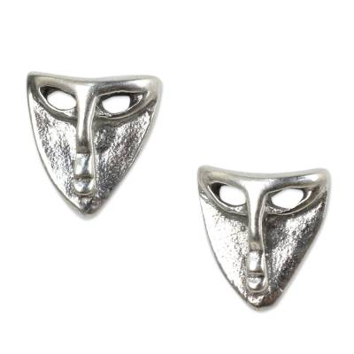 Sterling Silver Theater Mask Button Earrings from Thailand