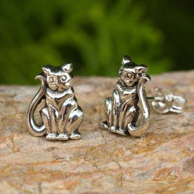 Sterling silver button earrings, 'Contented Kittens' - Cat Theme Hand Crafted Sterling Silver Button Earrings