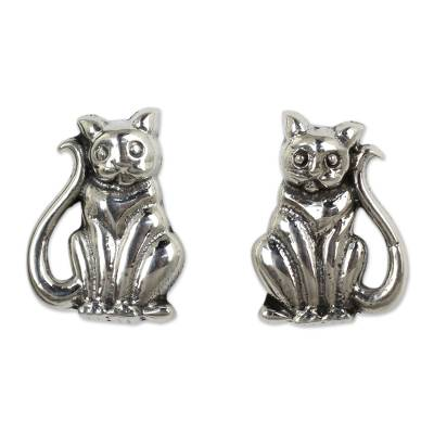 Cat Theme Hand Crafted Sterling Silver Button Earrings
