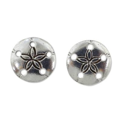 Hand Crafted Seashell Design Sterling Silver Button Earrings