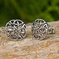 Sterling silver button earrings, 'Intertwined'