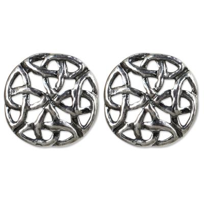 Fair Trade Thai Sterling Silver Button Earrings