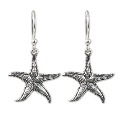 Artisan Crafted Sea Theme Silver Hook Earrings from Thailand