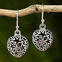 Sterling silver dangle earrings, 'Superstar' - Sterling Silver Star Filigree Earrings from Thailand