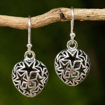 Sterling silver dangle earrings, Superstar