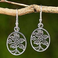 Sterling silver heart earrings, 'Hollyhocks' - Thai Artisan Crafted Flower Theme Silver Hook Earrings