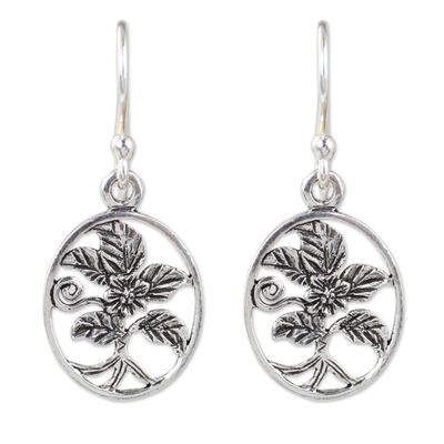 Thai Artisan Crafted Flower Theme Silver Hook Earrings
