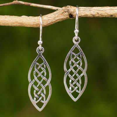 Sterling silver dangle earrings, 'Celtic Braid' - Hand Crafted Thai Celtic Theme Sterling Silver Earrings