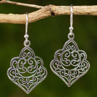Sterling silver dangle earrings, 'Arabesque' - Thai Handmade Ornate Sterling Silver Dangle Earrings