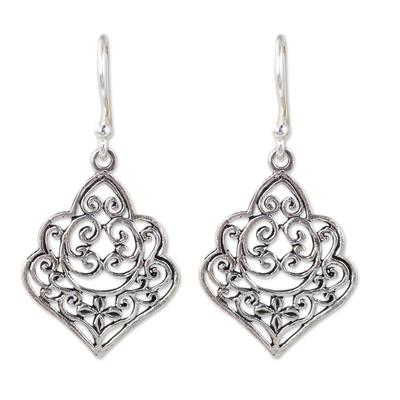 Thai Handmade Ornate Sterling Silver Dangle Earrings