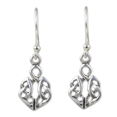 Hand Crafted Thai Celtic Oak Root Theme Silver Earrings