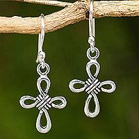 Sterling silver dangle earrings, 'Knotted Cross' - Hand Crafted Thai Sterling Silver Cross Dangle Earrings
