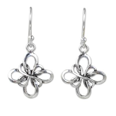 Handcrafted Thai Sterling Silver Dangle Hook Earrings